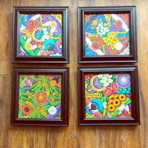 Set of 4: Custom Framed Guatemalan Canvases